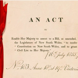 Detail from the cover of the New South Wales Constitution Act 1855 (UK).