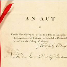 Detail from the title page of the Victoria Constitution Act 1855 (UK).