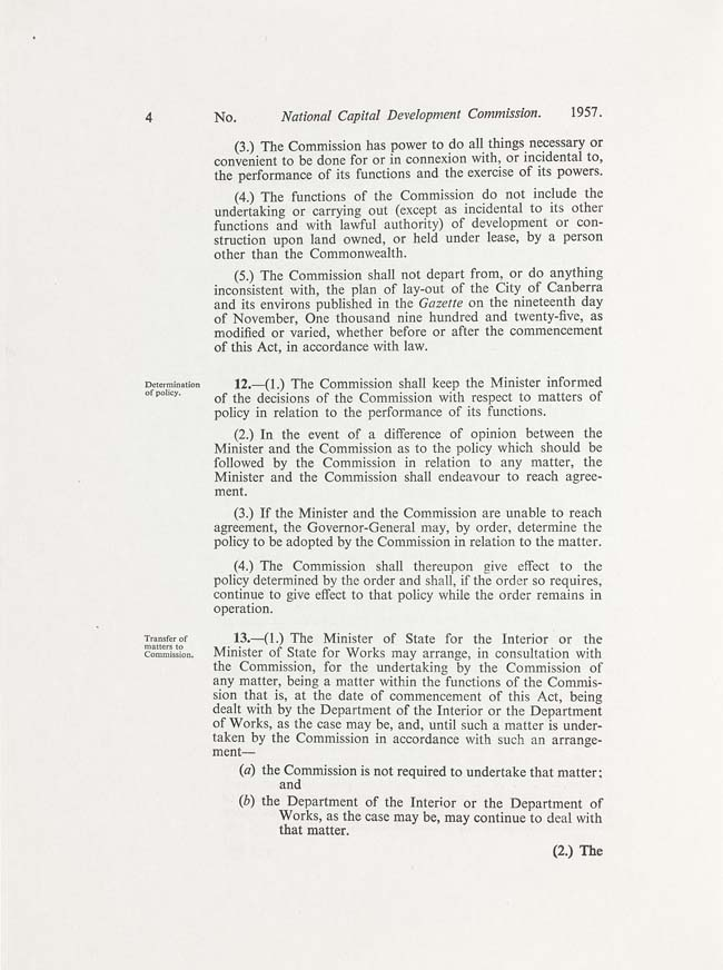 National Capital Development Commission Act 1957 (Cth), p4