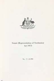 Senate (Representation of Territories) Act 1973 (Cth), cover