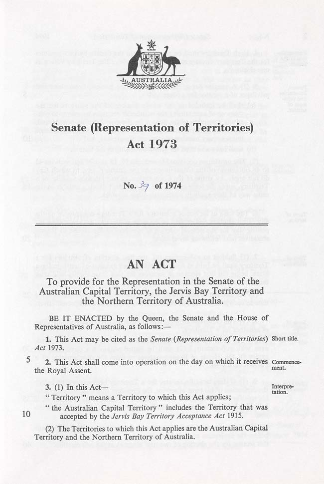Senate (Representation of Territories) Act 1973 (Cth), p1