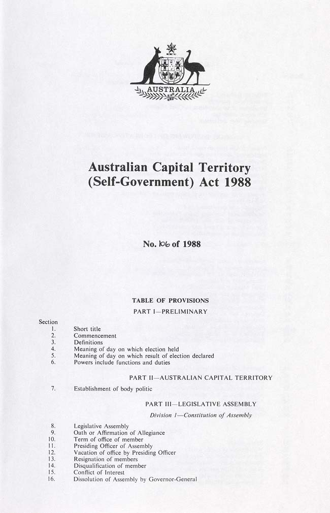Australian Capital Territory (Self-Government) Act 1988 (Cth), contents