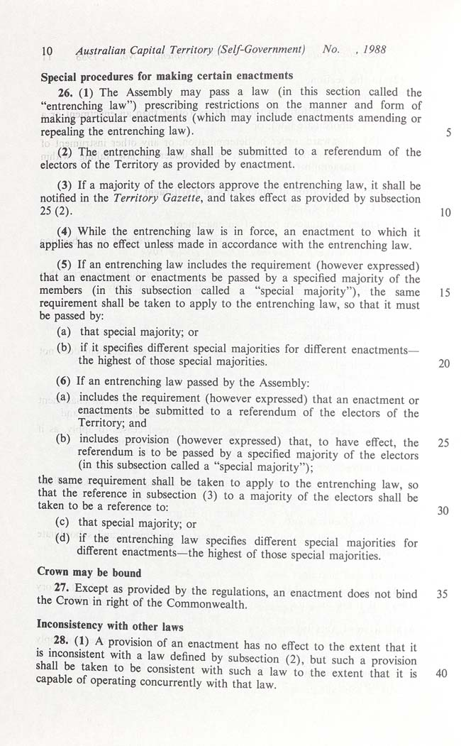 Australian Capital Territory (Self-Government) Act 1988 (Cth), p10
