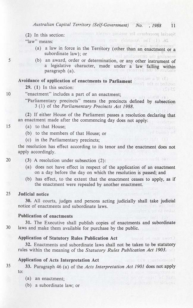 Australian Capital Territory (Self-Government) Act 1988 (Cth), p11