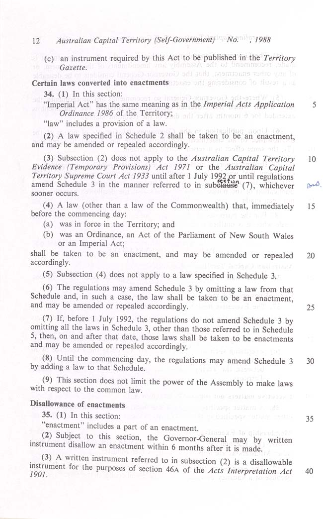 Australian Capital Territory (Self-Government) Act 1988 (Cth), p12