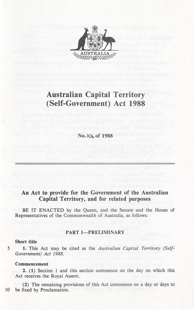 Australian Capital Territory (Self-Government) Act 1988 (Cth), p1