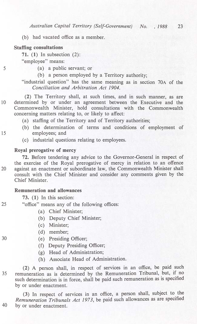 Australian Capital Territory (Self-Government) Act 1988 (Cth), p23
