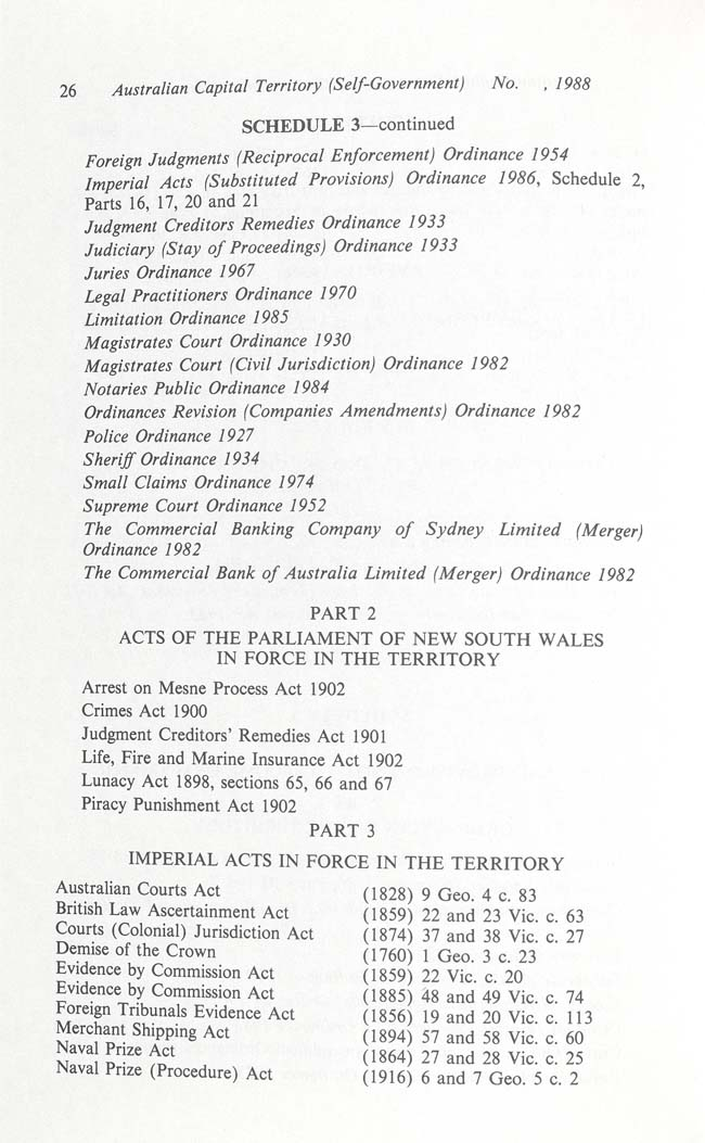 Australian Capital Territory (Self-Government) Act 1988 (Cth), p26
