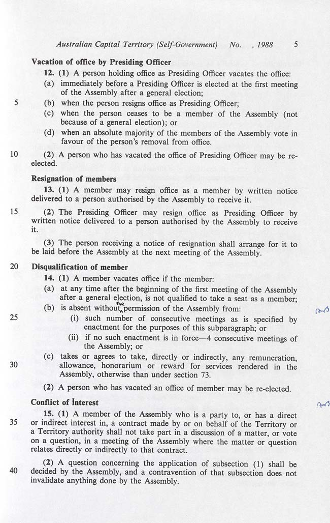 Australian Capital Territory (Self-Government) Act 1988 (Cth), p5