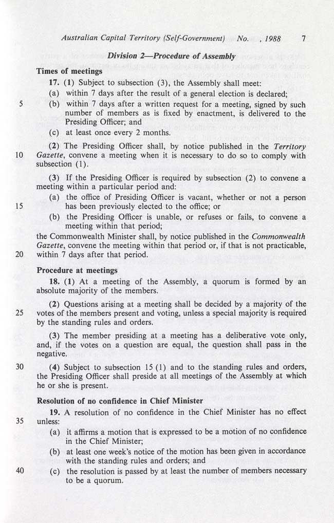 Australian Capital Territory (Self-Government) Act 1988 (Cth), p7