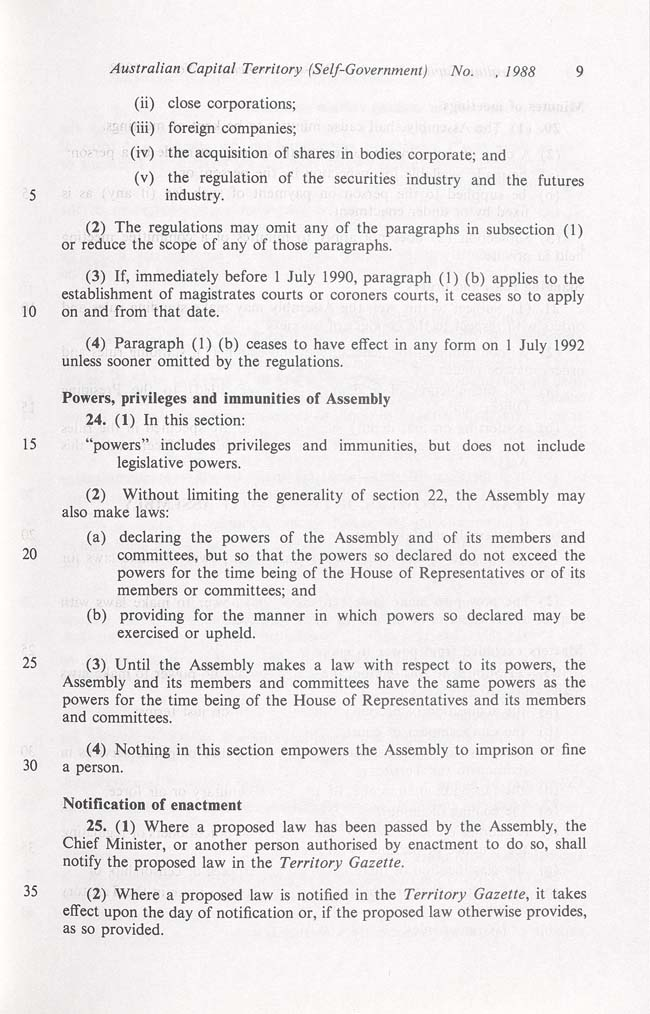 Australian Capital Territory (Self-Government) Act 1988 (Cth), p9