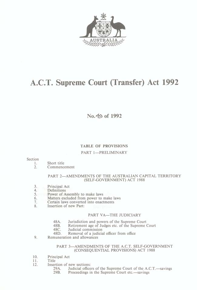 ACT Supreme Court Transfer Act 1992 (Cth), contents