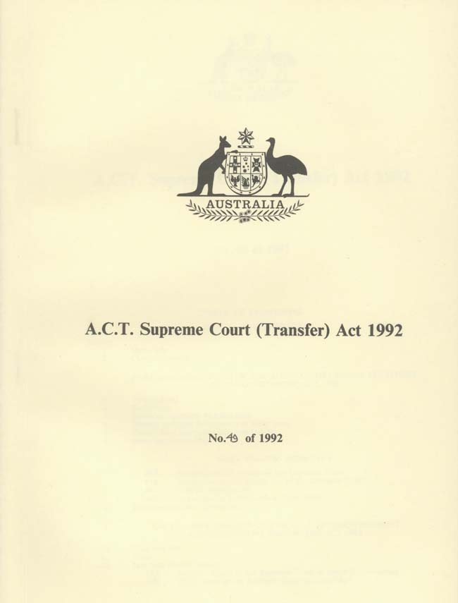 ACT Supreme Court Transfer Act 1992 (Cth), cover