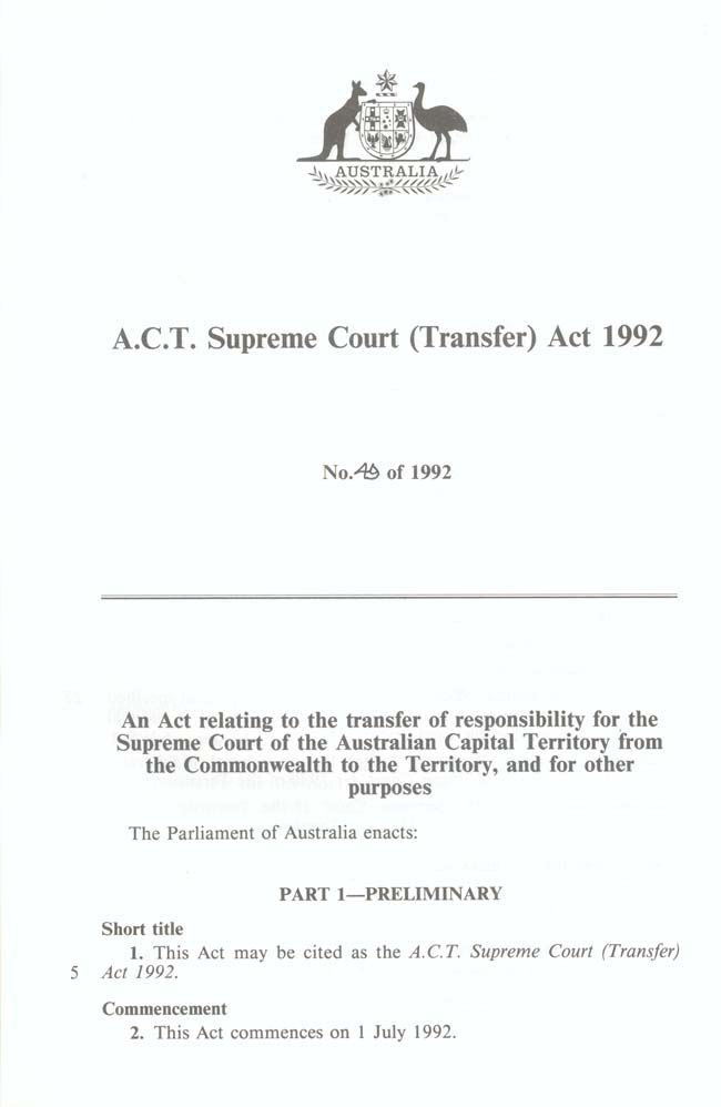 ACT Supreme Court Transfer Act 1992 (Cth), p1
