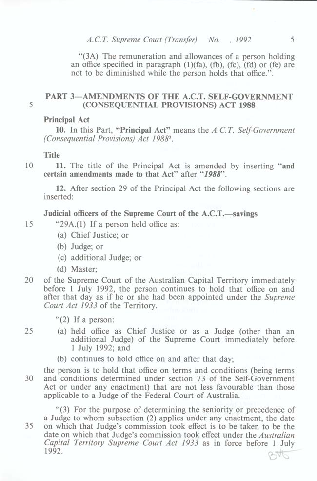 ACT Supreme Court Transfer Act 1992 (Cth), p5