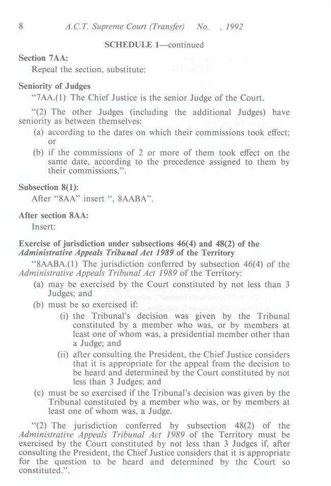 ACT Supreme Court Transfer Act 1992 (Cth), p8