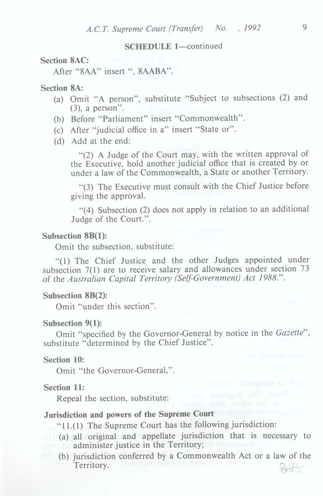 ACT Supreme Court Transfer Act 1992 (Cth), p9