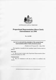 ACT Proportional Representation (Hare-Clark) Entrenchment Act 1994 (ACT), p1