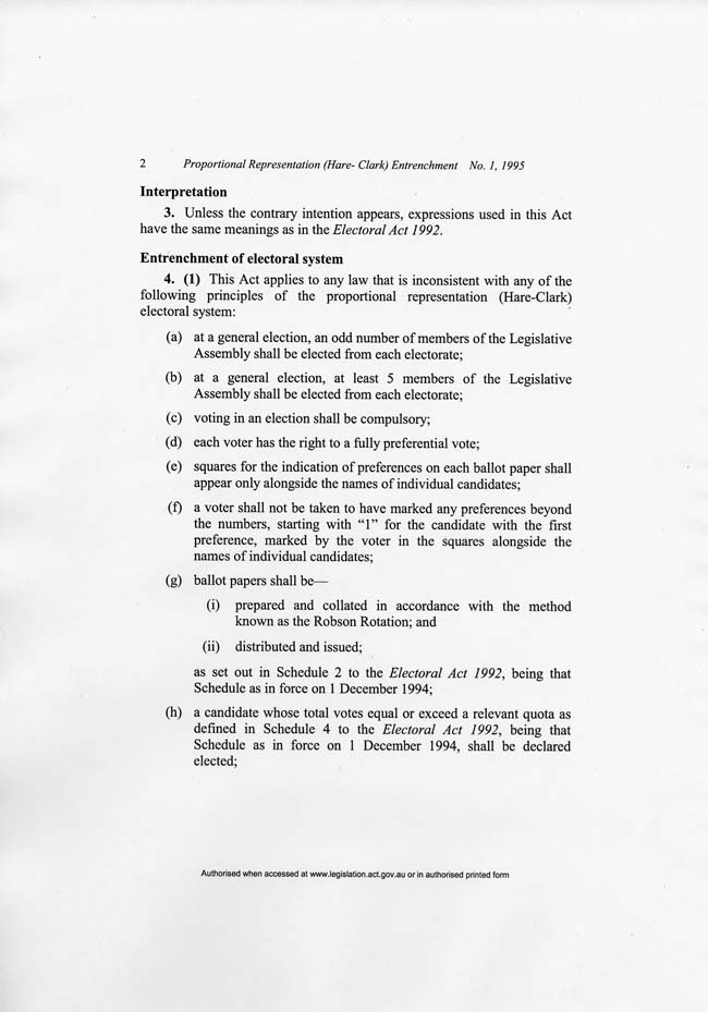 ACT Proportional Representation (Hare-Clark) Entrenchment Act 1994 (ACT), p2