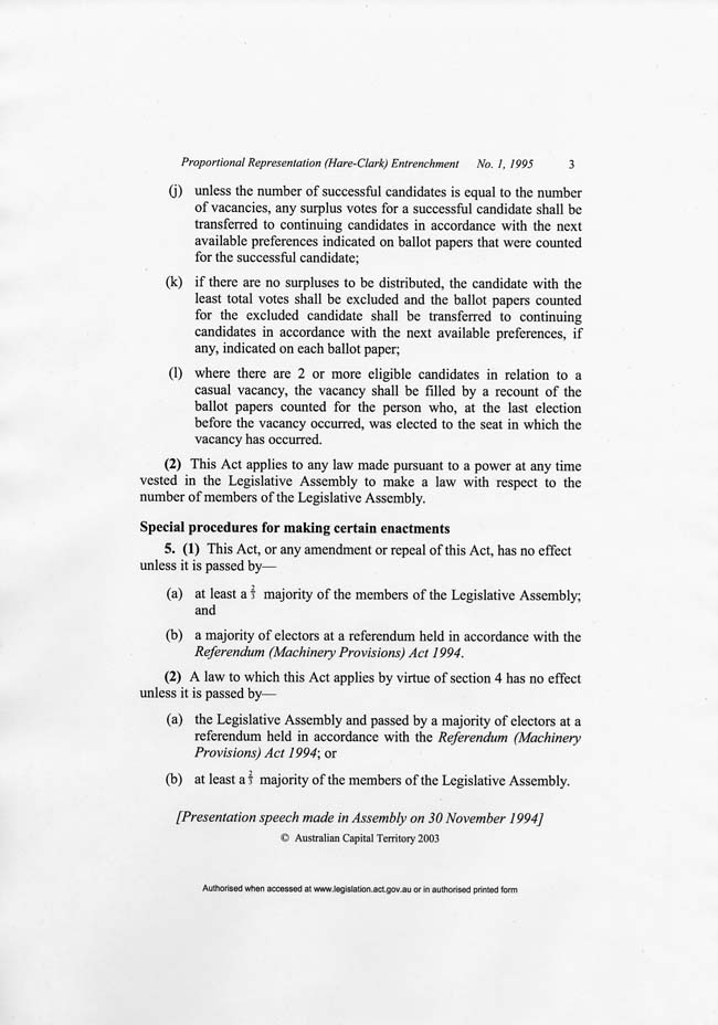 ACT Proportional Representation (Hare-Clark) Entrenchment Act 1994 (ACT), p3
