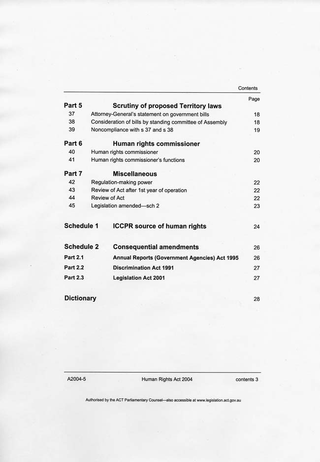 Human Rights Act 2004 (ACT), contents3