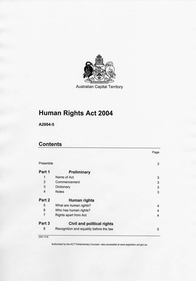 Human Rights Act 2004 (ACT), contents