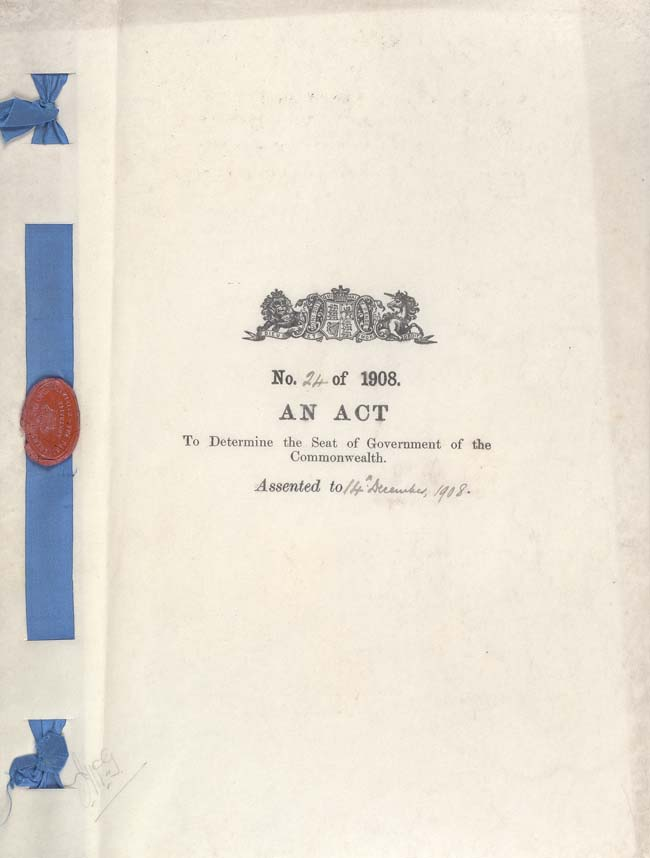 Seat of Government Act 1908 (Cth), cover