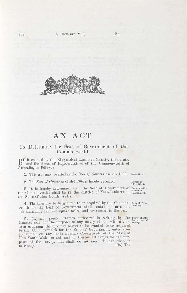Seat of Government Act 1908 (Cth), p1