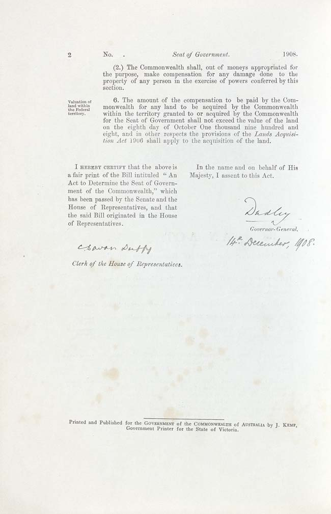 Seat of Government Act 1908 (Cth), p2