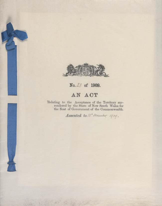 Seat of Government Acceptance Act 1909 (Cth), cover