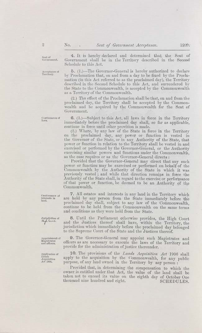 Seat of Government Acceptance Act 1909 (Cth), p2
