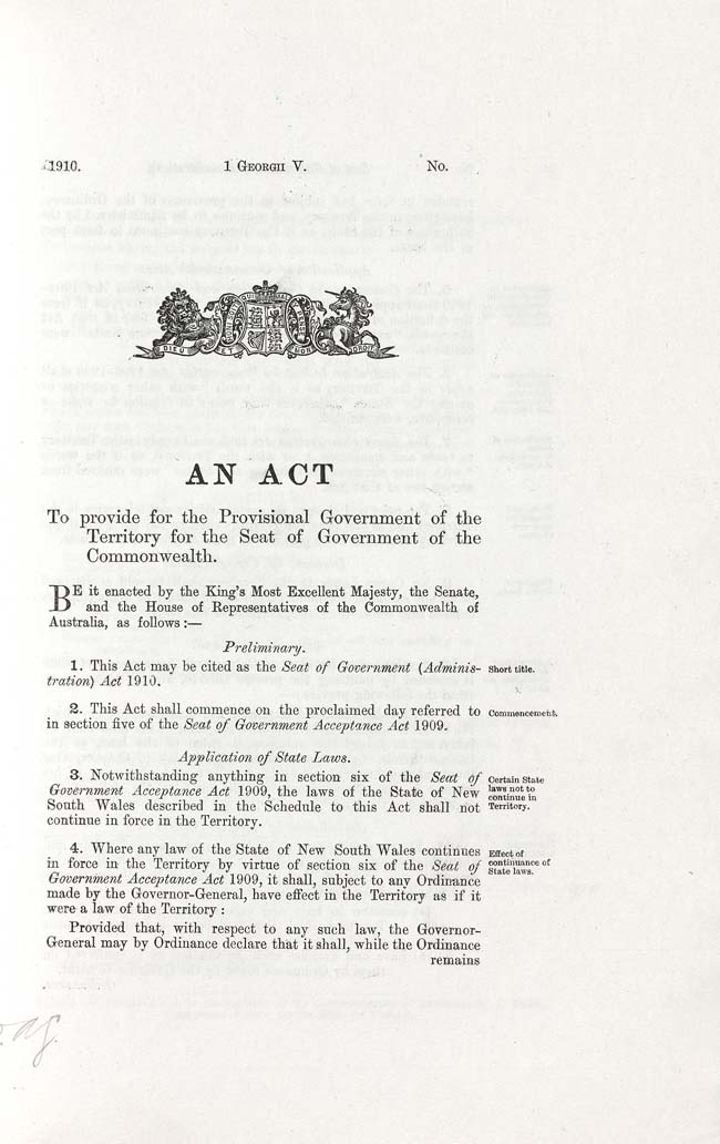 Seat of Government (Administration) Act 1910 (Cth), p1