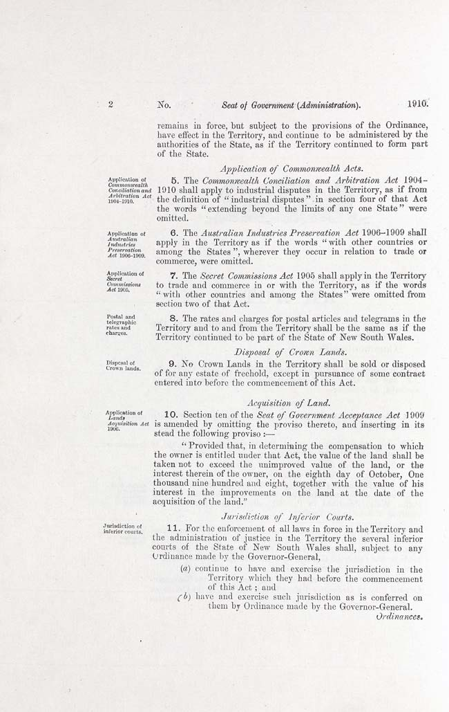 Seat of Government (Administration) Act 1910 (Cth), p2
