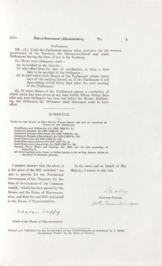 Seat of Government (Administration) Act 1910 (Cth), p3