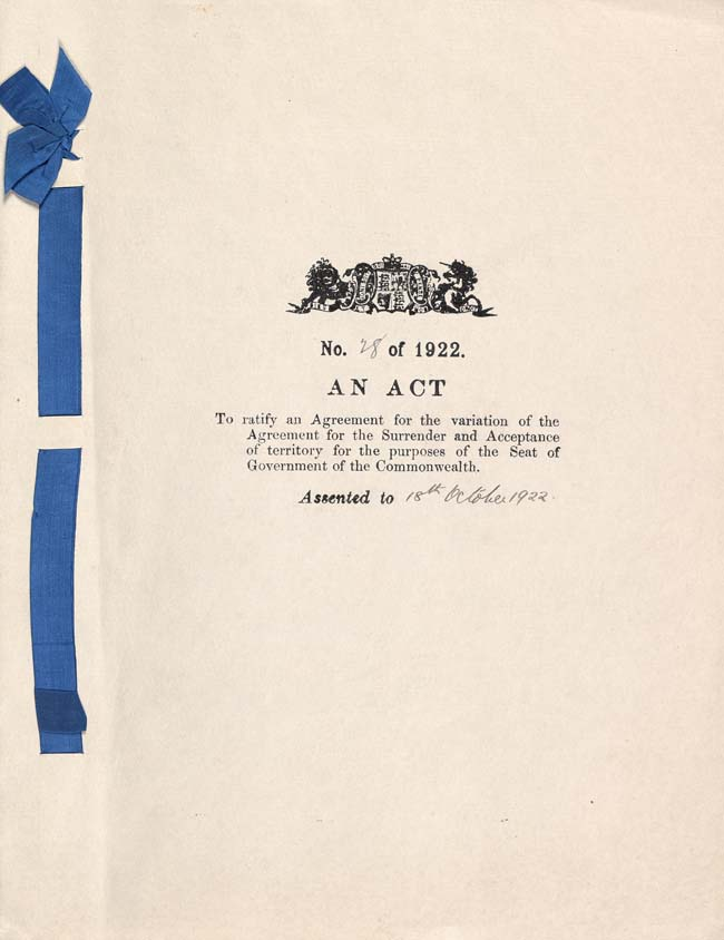 Seat of Government Acceptance Act 1922 (Cth), cover