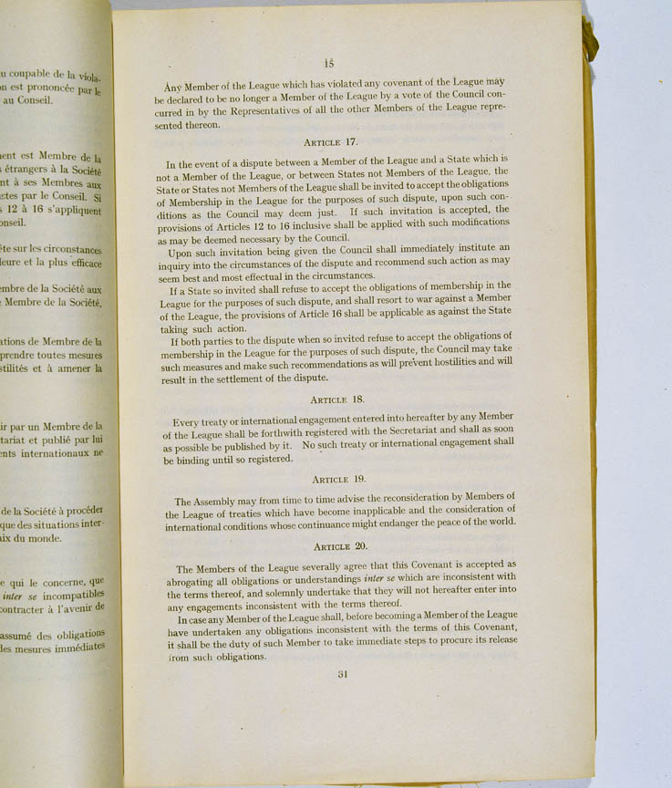 Treaty of Versailles 1919 (including Covenant of the League of Nations), p15