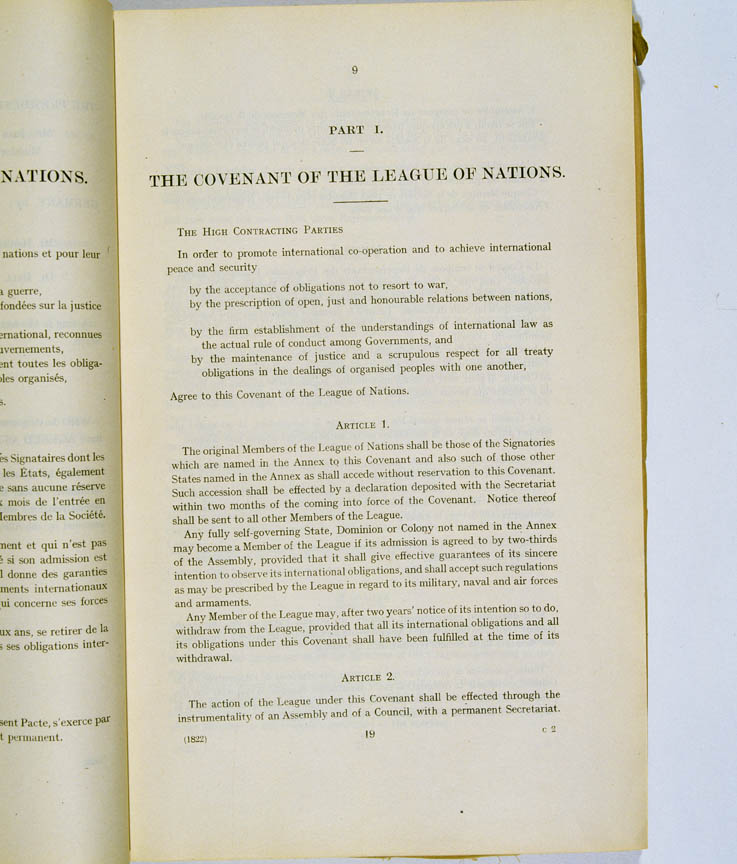Treaty of Versailles 1919 (including Covenant of the League of Nations), p9