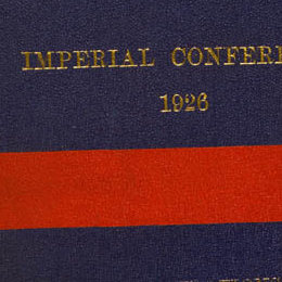 Detail showing the gold lettering on the cover of the Balfour Declaration.