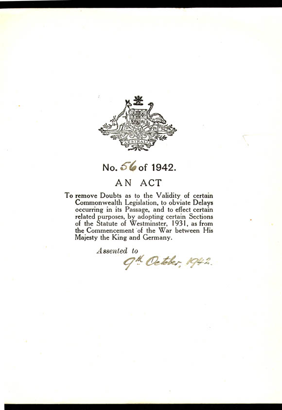 Statute of Westminster Adoption Act 1942 (Cth), cover