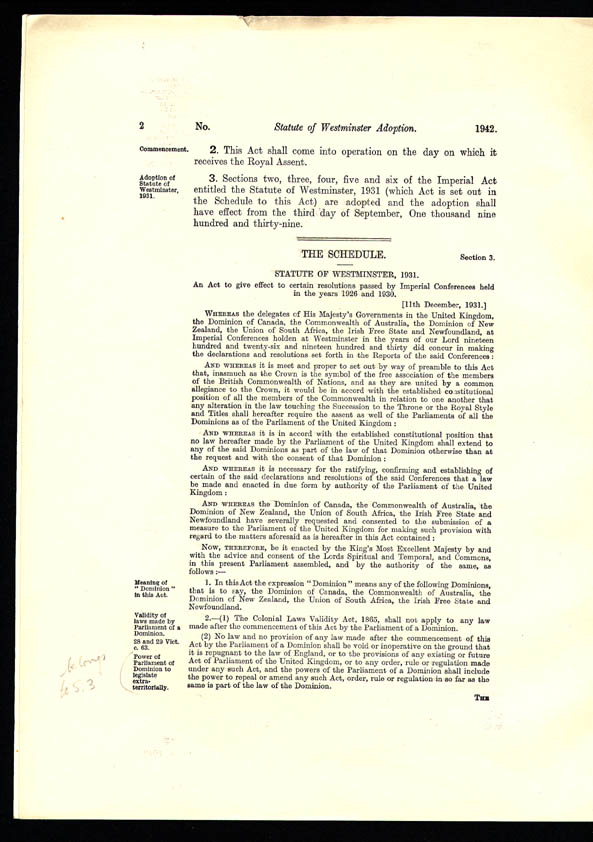 Statute of Westminster Adoption Act 1942 (Cth), p2