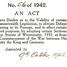 Detail from the cover of the Statute of Westminster Adoption Act 1942 (Cth).
