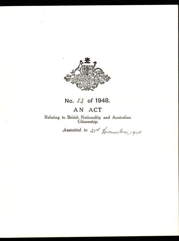 Nationality and Citizenship Act 1948 (Cth), cover