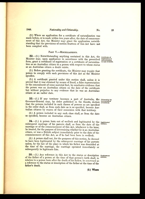 Nationality and Citizenship Act 1948 (Cth), p15