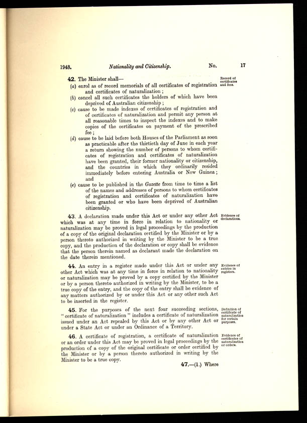 Nationality and Citizenship Act 1948 (Cth), p17