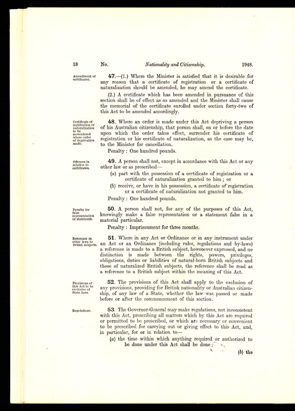 Nationality and Citizenship Act 1948 (Cth), p18