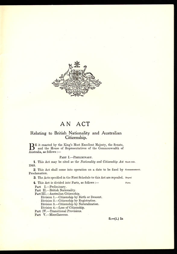 Nationality and Citizenship Act 1948 (Cth), p1