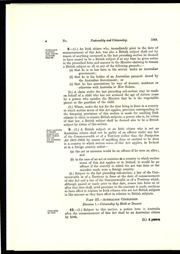 Nationality and Citizenship Act 1948 (Cth), p4