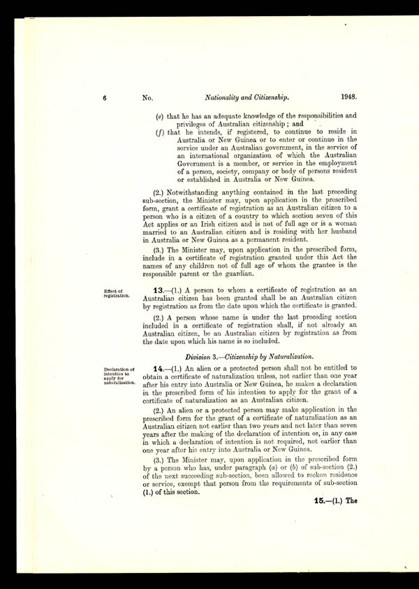 Nationality and Citizenship Act 1948 (Cth), p6