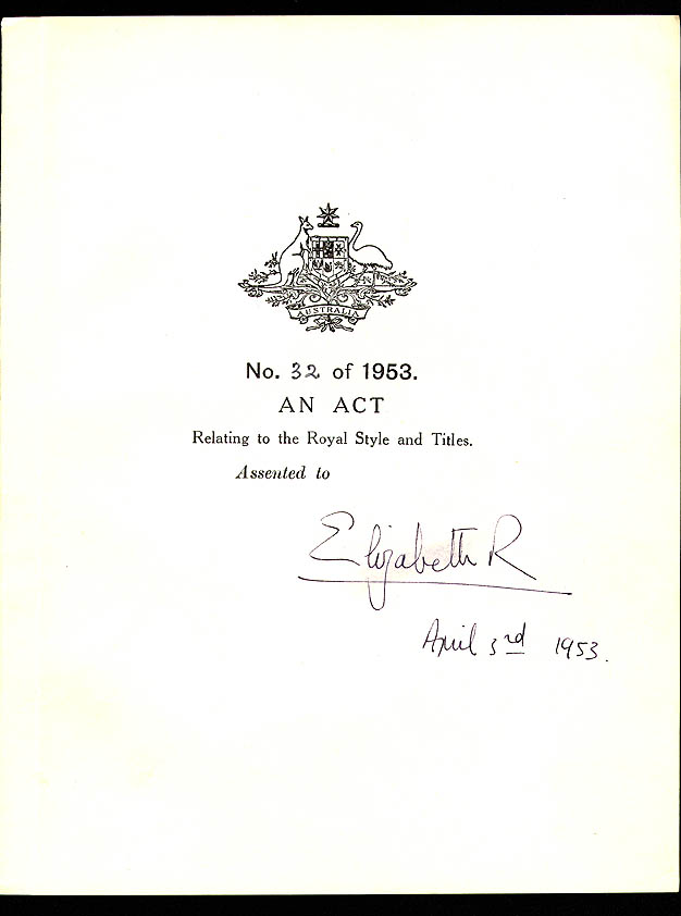Royal Style and Titles Act 1953 (Cth), cover