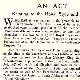 Detail from the Act relating to Royal Style and Titles.